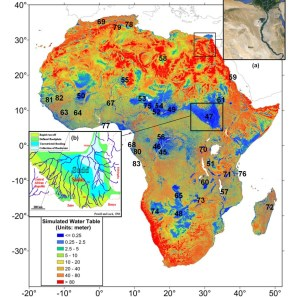 Image of simulated depth to water table for Africa (Courtesy of Y. Fan, Rutgers University, USA)