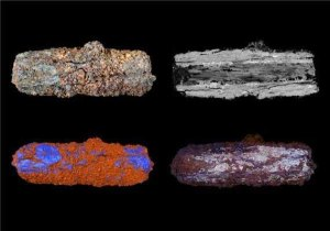 Optical, microprobe and CT-scan images of Predynastic iron bead from the Nile Valley (credit: Open University)