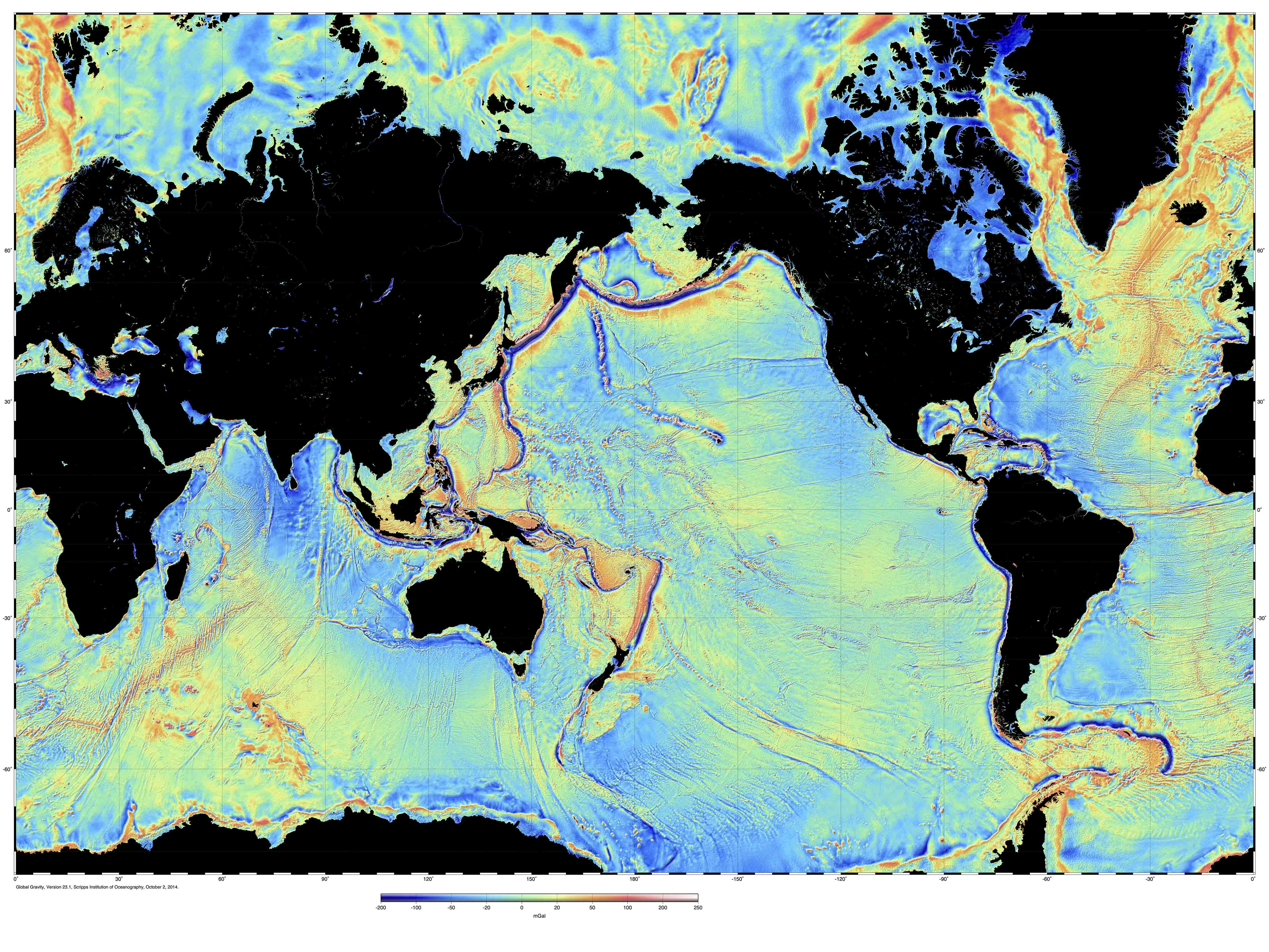 Sea Floor Elevation Map : New gravity and bathymetric maps of the oceans