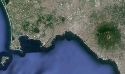 The Bay of Naples with Vesuvius to the east of the city and Campi Flegrei to the west. (credit: Google Earth)
