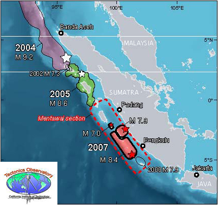 Recent Great Earthquakes in different segments of the Sumatra plate margin (credit: Tectonics Observatory, California Institute of Technology http://www.tectonics.caltech.edu/outreach/highlights/sumatra/why.html