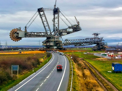 The Bagger 288 bucket wheel reclaimer moves from one lignite mine to another in Germany.