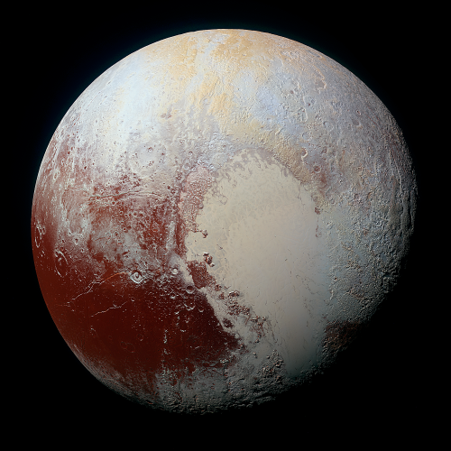 Pluto imaged in approximately natural colour by New Horizons. (credit: NASA)