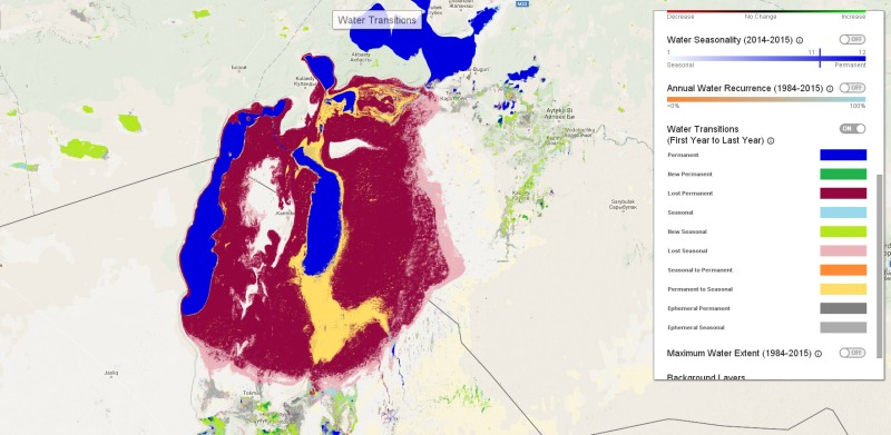 The Aral Sea in Uzbekistan and Kazakhstan has suffered dramatic loss of standing and seasonal water cover due to overuse of water for irrigation from the two main rivers, the Amu (Oxus) and Syr, that flow into it. Note the key to the colours that represent different categories of changes in surface water. (Credit: Global Surface Water Explorer)